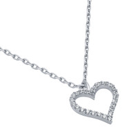 "Rhodium Plated Cubic Zirconia Heart Necklace 16"" + 2"""