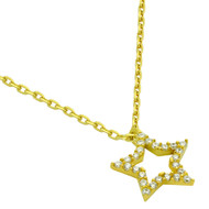 "Gold-Tone Plated Cubic Zirconia Star Necklace 16"" + 2"""