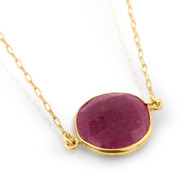 "Gold-Tone Plated Round Red Stone Necklace In 16"" + 1"""