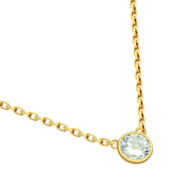 "Gold-Tone Plated Cubic Zirconia Stone On Necklace 16"" + 2"""
