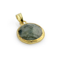 Gold-Tone Plated Sterling Silver And Simulated Labradorite Round Pendant