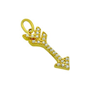 Yellow Gold-Tone Plated Sterling Silver Cubic Zirconia Arrow Pendant