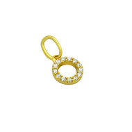 Yellow Gold-Tone Plated Sterling Silver Cubic Zirconia Curcle Pendant