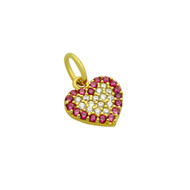Yellow Gold-Tone Plated Sterling Silver Clear & Simulated Ruby Cubic Zirconia Pave Heart Pendant