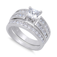 Square Center Cubic Zirconia Wedding Engagement Ring Sterling Silver 925