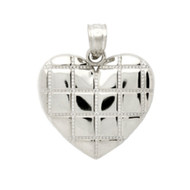 Rhodium Plated Sterling Silver Heart Pendant