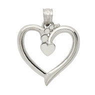 Rhodium Plated Sterling Silver Fashion Heart Pendant