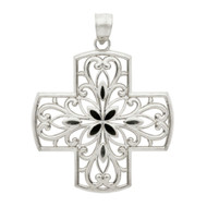 Rhodium Plated Sterling Silver Filigree Cross Pendant