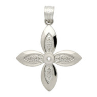 Rhodium Plated Sterling Silver Flower Pendant