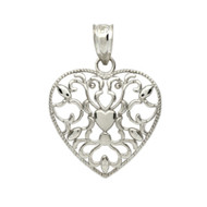 Rhodium Plated Sterling Silver Swirl Heart Pendant