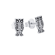 Sterling Silver Owl Design Stud Earrings
