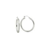 Sterling Silver Mesh Tube Hoop Earrings