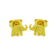 Yellow Gold-Tone Sterling Silver Elephant Stud Earrings