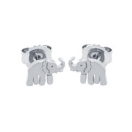 Rhodium Plated Sterling Silver Elephant Stud Earrings