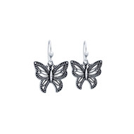Sterling Silver Beaded Butterfly Fishhook Earrings