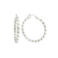 Sterling Silver Swirl Striped Tube Hoop Earrings