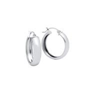 Rhodium Plated Sterling Silver Hoop Design Earrings