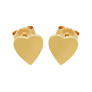 Rose Gold-Tone Plated Sterling Silver Plain Heart Stud Earrings