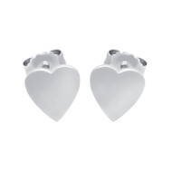 Rhodium Plated Sterling Silver Plain Heart Stud Earrings