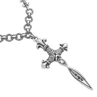 "Sterling Silver Twisted Blade Fleur De Lis Dagger 26"" Designer Jewelry Necklace"
