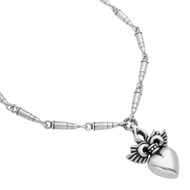 """Sterling Silver Twisted Blade Winged Heart With Bullets Chain Designer 25"""" Jewelry Necklace"""