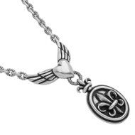 Sterling Silver Twisted Blade Fleur De Lis Heart With Wings Designer Necklace Jewelry