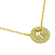 """Yellow Gold-Tone Plated Sterling Silver Cubic Zirconia Pave Cross Necklace 16""""+2"""""""