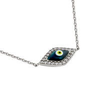"Rhodium Plated Sterling Silver Cubic Zirconia Pave Dark Blue Eye Necklace 16""+2"""