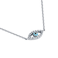 """Rhodium Plated Sterling Silver Cubic Zirconia Light Blue Eye Necklace 16""""+1"""""""