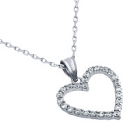 "Rhodium Plated Sterling Silver Cubic Zirconia Heart Necklace 16""+2"""
