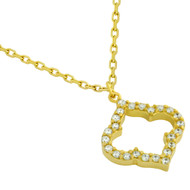 "Yellow Gold-Tone Plated Sterling Silver Cubic Zirconia Royal Clover Necklace 16""+2"""