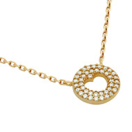 """Rose Gold-Tone Plated Sterling Silver Cubic Zirconia pave Heart Necklace 16""""+2"""""""