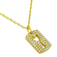 "Yellow Gold-Tone Plated Sterling Silver Cubic Zirconia pave Tag With Cutout Arrow Necklace 16""+2"""