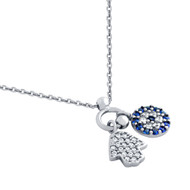 "Rhodium Plated Sterling Silver Blue Simulated Sapphire & Clear Cubic Zirconia pave Hamsa  And Round Design Necklace 16""+1"""
