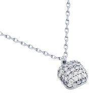 """Rhodium Plated Sterling Silver Cubic Zirconia Pave Cushion Necklace 16""""+2"""""""