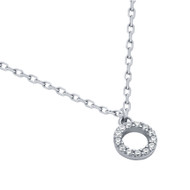 """Rhodium Plated Sterling Silver Cubic Zirconia Circle Necklace 16""""+2"""""""