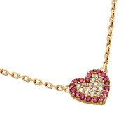 """Rose Gold-Tone Plated Sterling Silver Pink And Clear Cubic Zirconia Pave Heart Necklace 16""""+2"""""""
