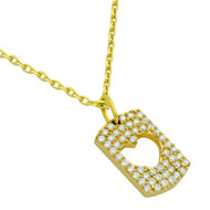 """Yellow Gold-Tone Plated Sterling Silver Cubic Zirconia Pave Cutout Heart Necklace 16""""+2"""""""