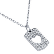 """Rhodium Plated Sterling Silver Cubic Zirconia Pave Cutout Heart Necklace 16""""+2"""""""