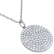"Rhodium Plated Sterling Silver Cubic Zirconia Pave Large Round Surface Necklace 16""+2"""