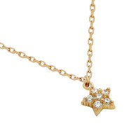 """Rose Gold-Tone Plated Sterling Silver Cubic Zirconia Pave Star Necklace 16""""+2"""""""