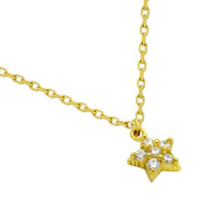 """Yellow Gold-Tone Plated Sterling Silver Cubic Zirconia Pave Star Necklace 16""""+2"""""""