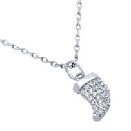 "Rhodium Plated Sterling Silver Cubic Zirconia Pave Fancy Horn Design Necklace 16""+2"""