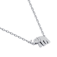 "Rhodium Plated Sterling Silver Elephant Necklace 16""+2"""