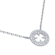 "Rhodium Plated Sterling Silver Cubic Zirconia Pave Royal Clover Necklace 16""+2"""