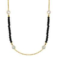"Yellow Gold-Tone Plated Sterling Silver Simulated Onyx Beads With  Cubic Zirconia Design Necklace 42""+2"""