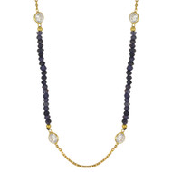 "42""+2"" Yellow Gold-Tone Plated Sterling Silver Designer Necklace With Blue Simulated Quartz Beads & Cubic Zirconia"