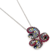 Rhodium Plated Sterling Silver Multicolor Cubic Zirconia Triple Swirl Ferroni Necklace 18""