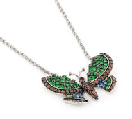 Rhodium Plated Sterling Silver Simulated Emerald, Brown And Light Blue Cubic Zirconia Feroni Butterfly Necklace 18""