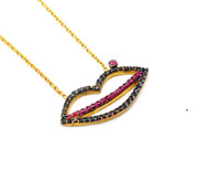 Yellow Gold-Tone Plated Sterling Silver Simulated Ruby And Black Cubic Zirconia Mouth Necklace